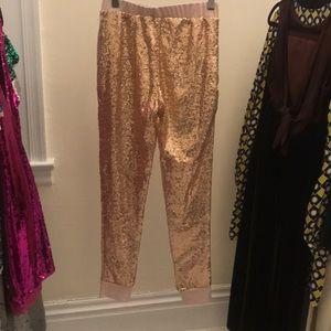 NWOT Rose Gold Sequin Leggings